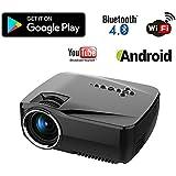 Honyi 800 * 480 Bluetooth Mini WiFi Projecteur Android 4.4.2 Videoprojecteur LED, 1200 Lumens Portable Videoprojecteur Soutien 1080P Rapport de contraste 600: 1 pour Accueil Films Parties et Jeux