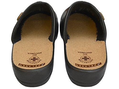 Relax Signore Pantolette Sandali Comfort Pantofole In Sughero Lavoro Modello 3512-pt Nero