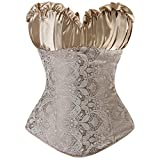 Czj-Innovation Vintage Gothic Bridal Bustier Fancy Women Corset Top Plus Size (6XL, Gold)