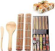 AMERTEER Sushi Making Kit Set 9 PCS, Sushi Rolling Mats Rice Paddle Rice Spreader Sushi Rolling Kit Bamboo Beg