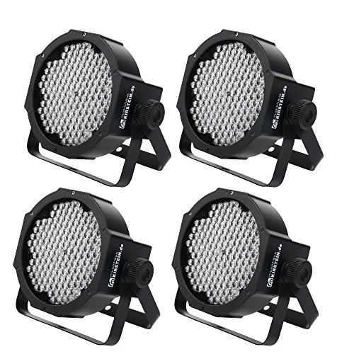 4x Showlite FLP-144 Flatline Panel LED Scheinwerfer (PAR Strahler, Discolicht, Bühnenbeleuchtung, Lampe, 144 LED/RBG mixing, Anschlüsse: DMX In/Out, 6 DMX Modi)