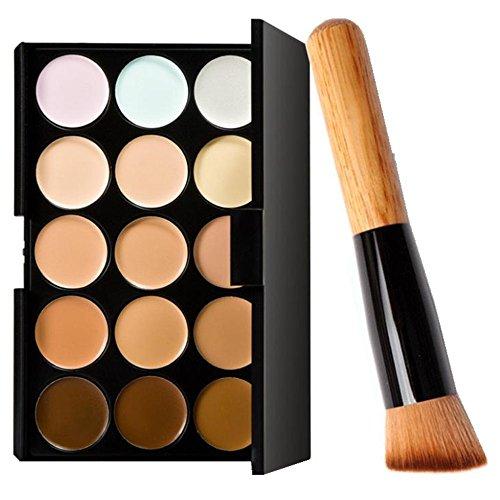 Pinceaux Maquillage,Winwintom 15 couleurs de maquillage Correcteur contour palette + pinceau de maquillage