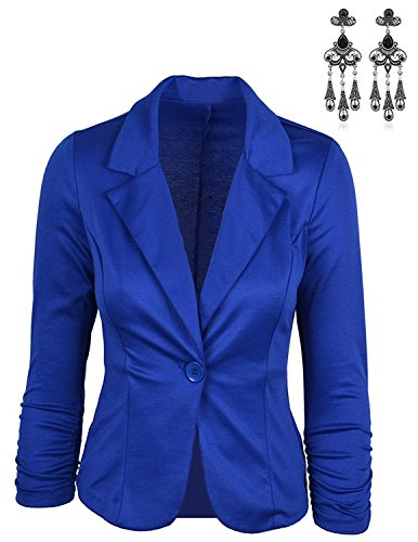 MODETREND Damen Blazer Tailliert Kurz Elegante Langarm Slim Business Anzug Casual Einreihig Kurzblazer Mantel Jacke Oberteil Blau S (Blazer Jacke Blaue)