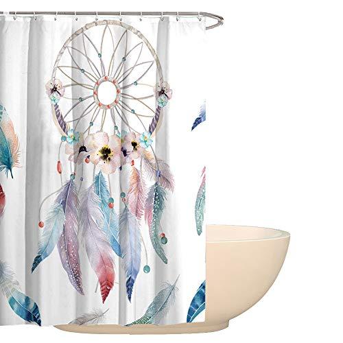 Cortina de ducha HYC08 con diseño de atrapasueños con plumas, de 150 x 180 cm, resistente al moho, impermeable, con 12 ganchos de alta calidad. decoración para baños, 2#, 150x180CM