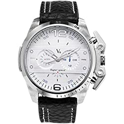 JSDDE Mens Sports Style Dial Silver Case Japanese Quartz All Black Leather Band Watch 98FT/3ATM Water Resistant Business Casual