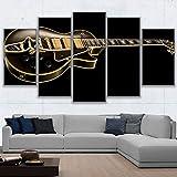 XMQW Toile Mur Art Affiche Décoration de la Maison Moderne 5 Pièces Classique Images de Guitare Instruments de Musique Modulaire Affiche,A,40x60x2+40x80x2+40x100x1