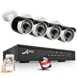 ANRAN Überwachungskamera Set POE 1080P 4-Kanal POE NVR Sicherheitssystem Mit 4 Stück 1080P CCTV Überwachungskameras für Draußen und Innenräume, Freie Remote Ansicht, Vorinstallierte 1TB Festplatte