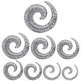 1 Stück oder 1 Set Dehnspirale Glitter Silberfarben Schnecke Dehnungssichel Dehnungsstab Dehnstab Piercing Dehnungsset, Farbe:silberfarben - Set 1.6-10mm