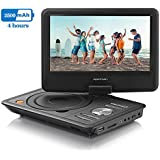 """APEMAN 9.5"""" Portable DVD Player With Swivel Screen Built-in Rechargeable Battery SD Card And USB Supported Direct Play In Formats MP4/AVI/RMVB/MP3/JPEG (Black)"""