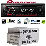 Audi A4 B7 inkl. CanBus Lenkradfernbedienung Symphony Bose - Autoradio Radio Pioneer DEH-S100UB - CD | MP3 | USB | Android Einbauzubehör - Einbauset