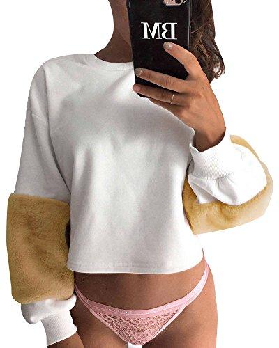 Minetom Damen Kapuzenpullis Plüsch Langarm Hoodie Sweatshirt Mit Kapuzen Pullover Tops Bluse Gelb DE 34 - Erwachsene Heavy Blend Crew Neck