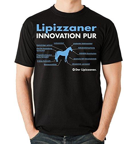 Siviwonder Unisex T-Shirt INNOVATION - LIPIZZANER - Pferde Fun reiten Schwarz