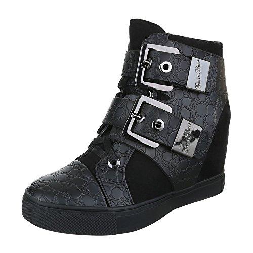 High-Top Sneaker Damenschuhe Keilabsatz/ Wedge Schnallen Ital-Design Freizeitschuhe Schwarz