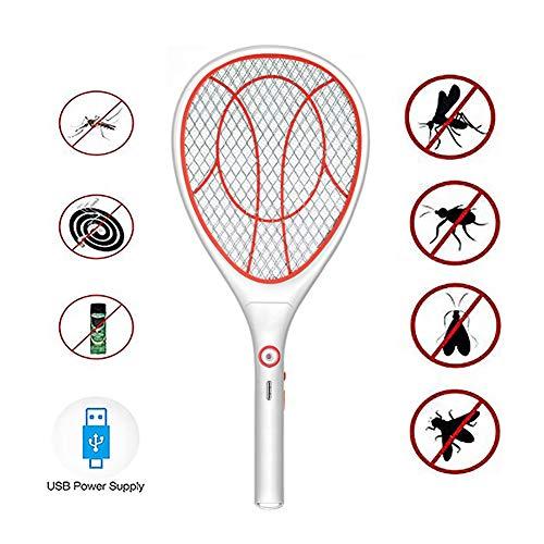 UNILIFE Raqueta Bug Zapper, matamoscas eléctrico, mosquitero Recargable para Mosquitos - Carga USB - 3000 voltios - Luz Brillante LED - Caja de Seguridad de Malla única de 3 Capas,C