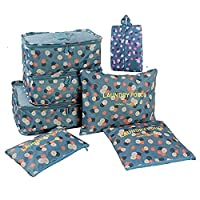 Marosoniy 7 set Travel Packing Cubes-3 travel Cubes 3 Pouches Bags with 1 Shoe Bag (Blue Flower)