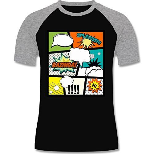 Comic Shirts - Comic Buchseite - zweifarbiges Baseballshirt für Männer Schwarz/Grau Meliert