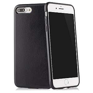 """Hülle für iPhone 7 PLUS (5,5"""") Thin Fit Case """"PU Leather"""" - PU Leder Tasche für Apple iPhone 7 PLUS, Schutzhülle mit Soft Feel Coating in schwarz - von QUADOCTA® - Idealer Schutz für Diamantschwarz Jet Black iPhone7 Plus"""
