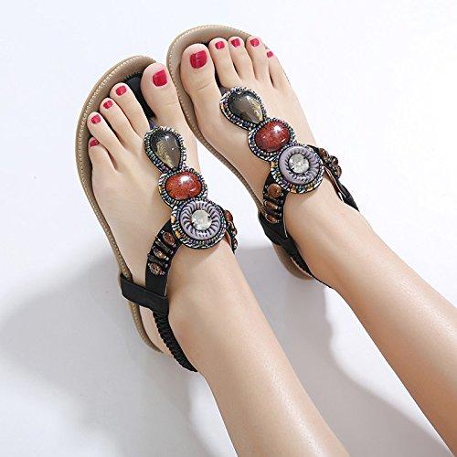 Yalanshop sandali bohémien donna estate donna strass fondo piatto di grandi dimensioni pizzico studenti etnici retrò scarpe da spiaggia