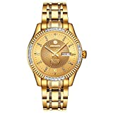 BINLUN Herren Analog Automatik Uhr mit Edelstahl Vergoldet Armband Leuchtend FBL0048G-GGG-A
