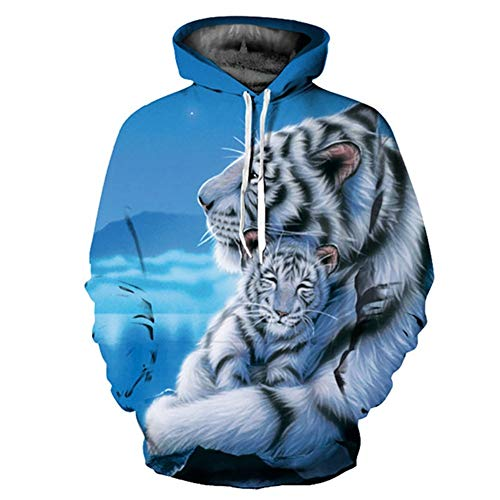 Hooded Sweatshirts Men/Women 3D Hoodies Print Double Tigers Thin Hooded Hoodies Casual Hoody Tops,XXL -