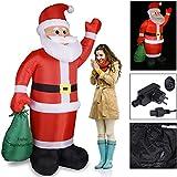 Monzana Aufblasbarer Weihnachtsmann XL 195cm LED beleuchtet inkl. Befestigungsmaterial Weihnachtsdekoration Nikolaus Santa