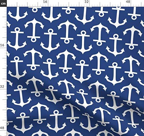 Anker, Marine, Maritim, Segeln, Marineblau, Boot Stoffe - Individuell Bedruckt von Spoonflower - Design von Littlerhodydesign Gedruckt auf Baumwoll Spandex Jersey -