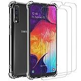 ivoler Custodia Cover per Samsung Galaxy A50 / A50S / A30S + 3 Pezzi Pellicola Vetro Temperato, Ultra Sottile Morbido TPU Trasparente Silicone Antiurto Protettiva Case