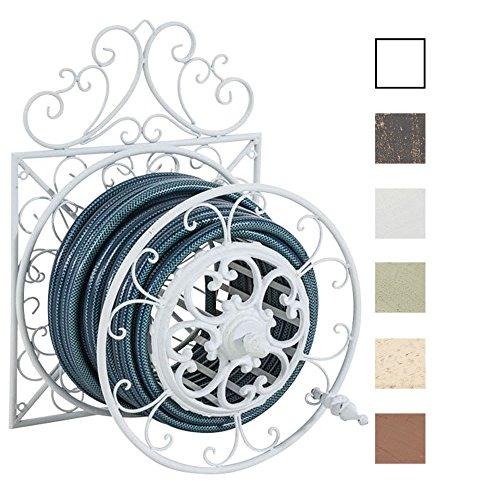 CLP Porte Tuyau Mural Arnold en Métal Robust - Porte Tuyau d'Arrosage Enrouleur et Dévidoir à Manche de Style nostalgique Ultra Elegant - Support de Tuyau à Fixer au Mur - Couleur au Choix: Blanc