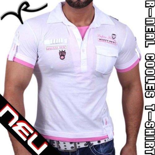 Rusty Neal Herren Kurzarm T-Shirt Poloshirt Polo Hemd Style Longshirt RN-301 Schwarz / Weiss