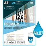 SKULLPAPER Premium A4 T-Shirt Textil-Transferfolie Bügelfolie für HELLE Stoffe / Textilien zum Bedrucken - inkl. 200+ GRATIS Motiv-Vorlagen - Transferpapier / Textilfolie für Tintenstrahldrucker Plotter (10 Blatt)