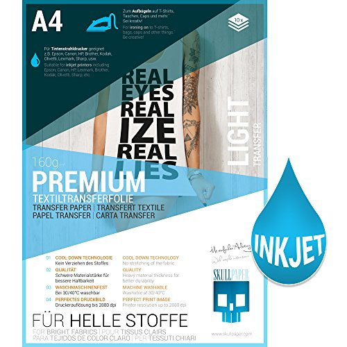 SKULLPAPER® Transferfolie für HELLE Stoffe - für Tintenstrahldrucker - inkl. 200+ Motive (A4-10 Blatt) -