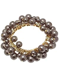 Ladies stretchy fashion bracelet in grey faux pearl design 114318