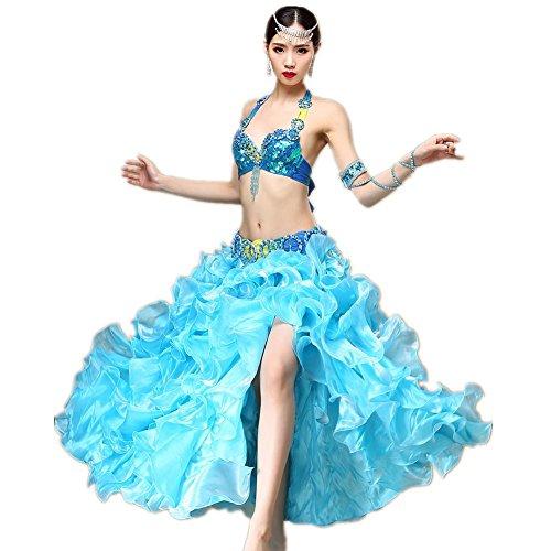 Indien Kostüm Frauen - Wgwioo Moderne Frauen Indien Bauchtanz-Outfit Chiffon Diamant-handgemachte Kostüm Pailletten Zhuxiu Professionelle Performance-Bra Rock, Blue, f