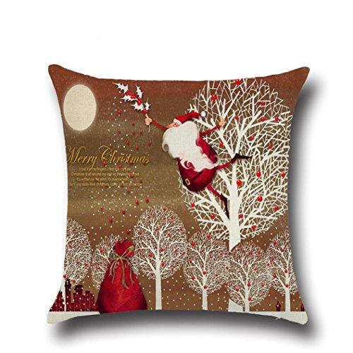 Zolimx Weihnachten Quadrat Wurf Flachs Kissen Kasten Dekoratives (Ohrringe Kugel Pailletten)