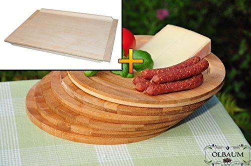 Schneidebrett - massive, hochwertige ca. 16 mm starke Schnitzelklopfbretter natur, Maße viereckig je ca. 38 cm x 51 cm & 6 Stk. Schneidebrett - massive, hochwertige ca. 12 mm starke Picknick Grill-Holzbretter mit Rillung natur, dunkles Bambus, Maße rund je ca. 25 cm Durchmesser als Bruschetta-Servierbrett, Brotzeitbretter, Steakteller schinkenbrett rustikal, Schinkenteller von BTV, Brotzeitteller Bayern, Wildbrett, Wildbret,