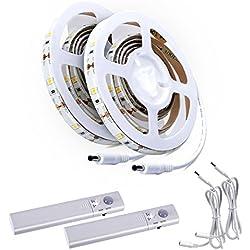 ALED LIGHT® 2pcs LED tira luz cuerda Kit, cinta luz escalera noche paso cinta de iluminación con sensor de movimiento para armarios de cocina cama (funciona con 4pilas AAA, No Incluidas)
