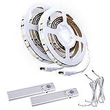 Aled Light® 2Stück LED Lichtband Lichtschlauch Kit, Band Licht Treppe Nacht Stufe Lichtband mit Bewegunsmelder für Küchen, Schränke, Bett (4AAA-Batteriebetrieb, nicht im Lieferumfang enthalten)
