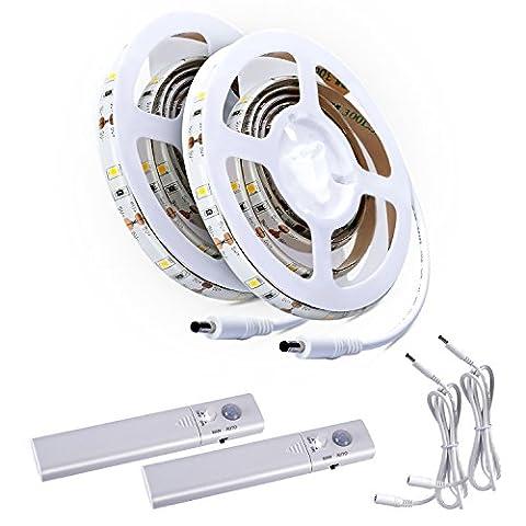Aled Licht® 2PCS LED Strip Lichtschlauch Kit, Tape Licht Treppe Nacht Schritt Beleuchtung Band mit Bewegungsmelder für Küche Schränke Bett (4AAA Batterien betrieben, nicht enthalten)