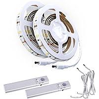 ALED LIGHT - Kit de tiras de luces LED (2 unidades, para escalera, luz de noche, armarios de cocina, cama, iluminación con sensor de movimiento, funciona con 4pilas AAA, no Incluidas)