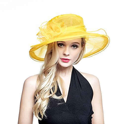 Donne Organza estate sole partito Beach Chiesa Cappello Ascot Race Derby Cocktail matrimonio Yellow Taglia unica