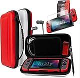 ORZLY® Pack de Accesorios Nintendo Switch (Funda de Viaje, Protector de Pantalla Switch, Cargador USB, Funda para Cartuchos, Funda Comfort Grip, Auriculares) Estilo Poke (Rojo/Negro/Blanco)