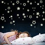 Wandkings Sterne XL-Set, 108 Sticker, extra starke Leuchtkraft, Wandsticker Leuchtaufkleber, Fluoreszierend und im Dunkeln leuchtend