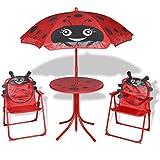 vidaXL Mobilier de Jardin pour Enfants 4 pcs Rouge Table et chaises de Jardin...