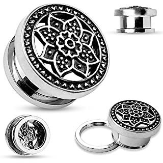cooler Flesh Tunnel Blume Flower Lotus Ohr Piercing Chirurgenstahl Screw Fit silber 5 mm