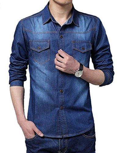 Aulei Denim Shirt Herren Jeans Hemd Freizeit Langarm Jeanshemd Herrenhemd Jacke XXL (Jeans Jacke Custom)