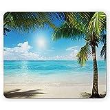 Tropische Strand-Mausunterlage,Kokosnuss-Palme-Schatten Auf Karibischen Ufer-Sommerpflanzen Idyllisch,Rutschfestes Gummi-Mousepad des Rechtecks