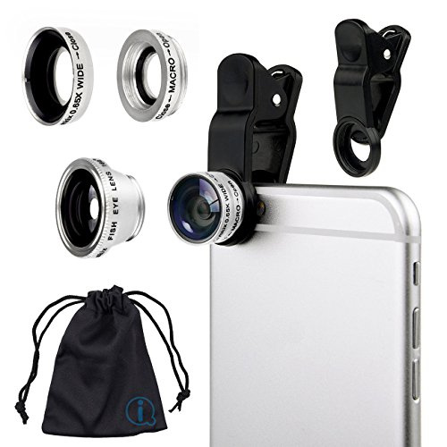Silver Clip On 180 Degrees Portable 3 in 1 Camera Lens Kit - FishEye - Wide Angle - Macro for Sony LT22i Xperia P  available at amazon for Rs.518