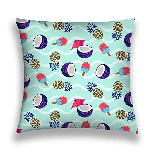 Tyuyui Pillow Cases Coconut Pineapple Ice Cream Seamless Vector Pattern Wavy Blue Texture Tropical Resort Background bar Party Flyer Grey tempurpedic (Halloween Für Bars Flyer)