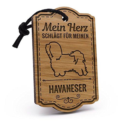 Fashionalarm Schlüsselanhänger Mein Herz schlägt für meinen Havaneser aus Holz mit Gravur | Geburtstag Geschenk Idee für Rasse Hunde Besitzer (Havaneser Hund Spielzeug)