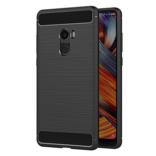 AICEK Xiaomi Mi Mix 2 Hülle, Schwarz Silikon Handyhülle für Xiaomi Mi Mix Evo Schutzhülle Karbon Optik Soft Case (5,99 Zoll)